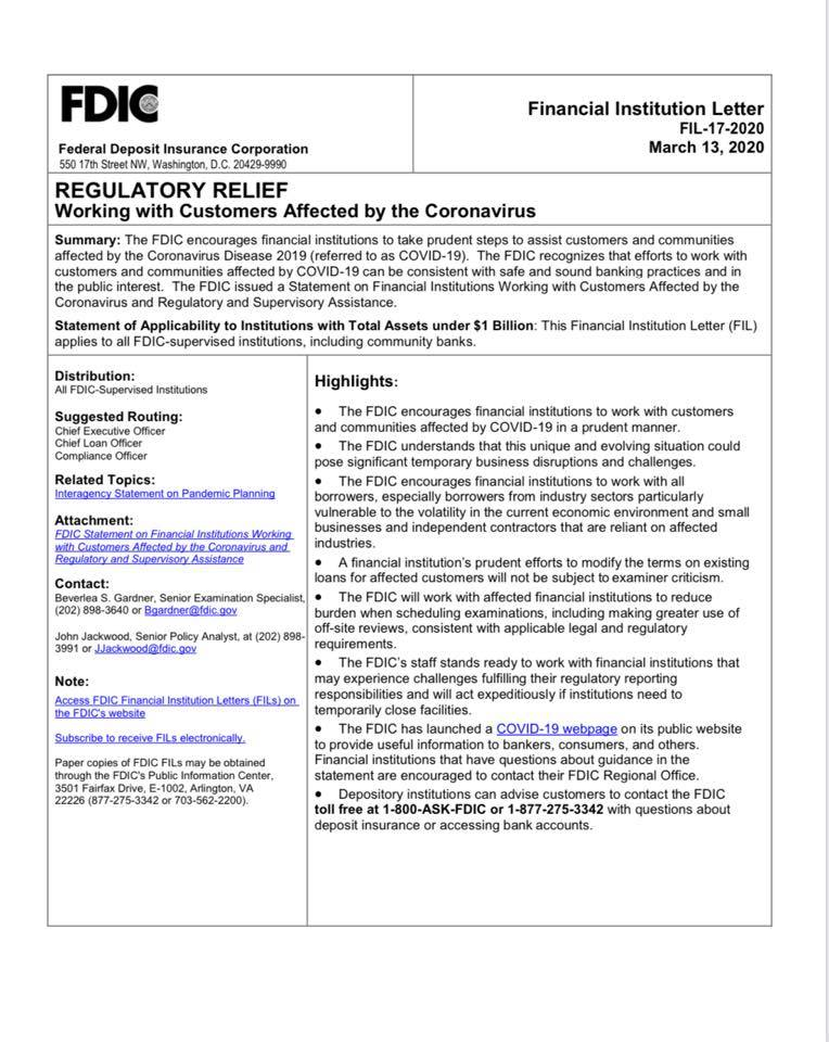 document image fdic regulatory relief